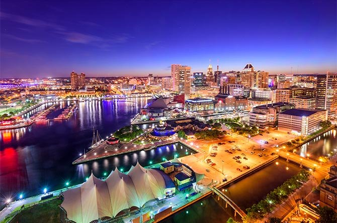 Baltimore skyline and bay area at night