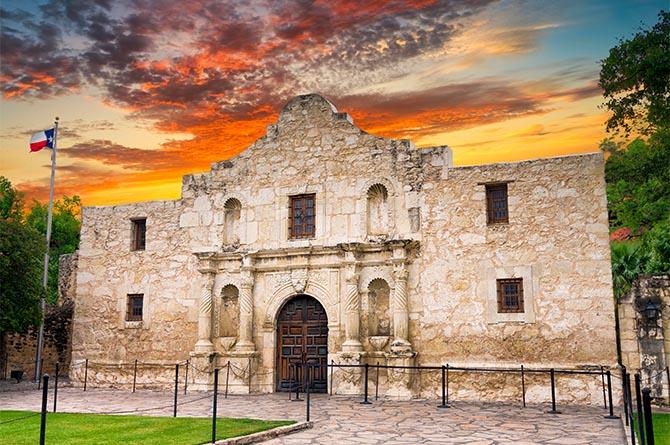 San Antonio Alamo at dusk