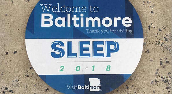 Welcome to Baltimore floor sticker with SLEEP 2018 logo