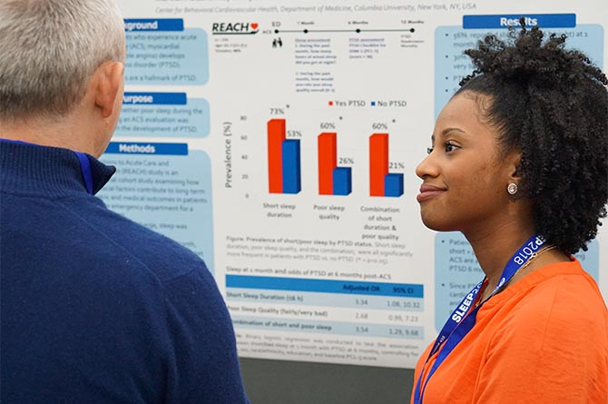 professionals viewing research abstract poster