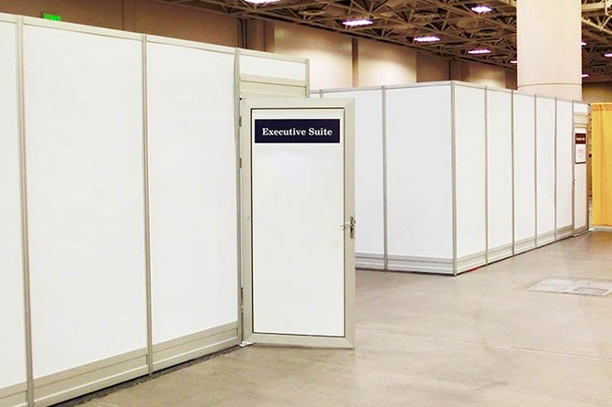 private suite constructed of temporary walls for use during event