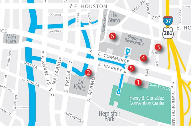 Simple road map of areas surrounding downtown San Antonio, with various hotel locations marked.