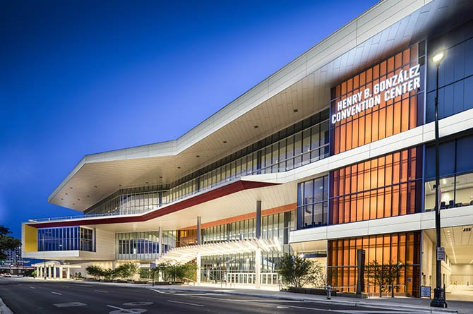 Exterior photo of the Henry B. González Convention Center in San Antonio, Texas at dusk.