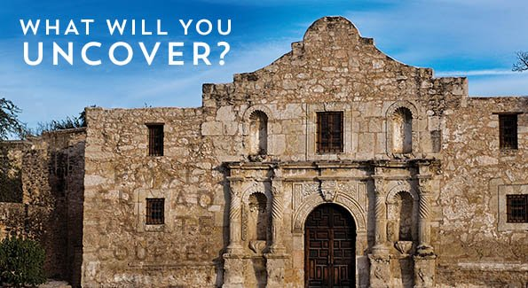 Facade of the Alamo, with 'What Will You Uncover?' in the clouds above and 'Postgraduate Courses' hidden in the texture of the building.