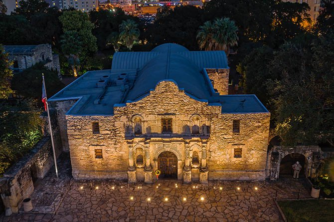 alamo exterior from overhead at dusk