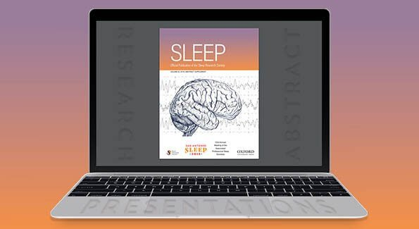 laptop showing the cover art of the journal SLEEP abstract supplement